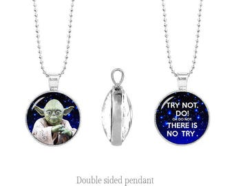 Yoda Double Sided Pendant Do or do not there is no try Two Sided Pendant Star Wars Fandom Jewelry