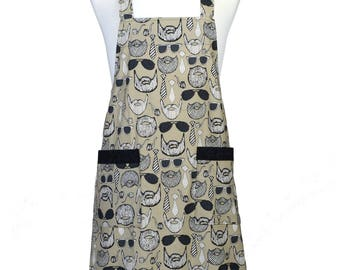 SALE Mens Japanese Crossback Apron XL Beard and Mustache Retro Pinafore Kitchen Apron with Pockets