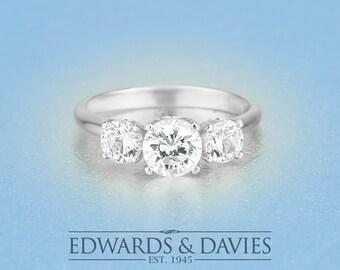 0.75ct Center White Gold Engagement | Three Stone Moissanite Engagement Ring | Forever Brilliant Moissanite | White Gold Diamond Ring