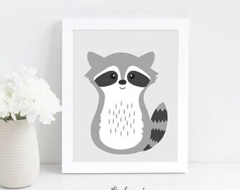 Raccoon Nursery Wall Art Print, Animal Nursery Print, Digital Nursery Printable Art, Baby Animal Art, Scandinavian Kids Art Digital Download
