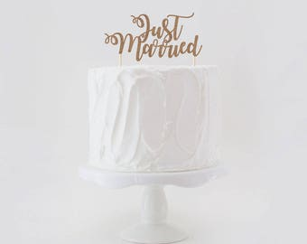Just Married Cake Topper, Wedding Cake Topper, Glitter Wedding Cake Topper