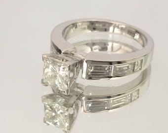 Certified 2.10 CT Princess & Baguette cut Diamond engagement Ring 14k white gold  hand made