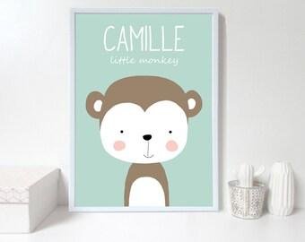 Custom baby nursery wall art,Monkey nursery print,Personalised wall print,custom name,green Nursery art prints ,baby nursery decor,Kids Room