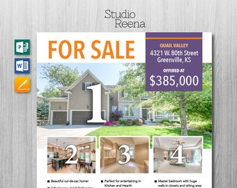 REAL ESTATE FLYER Template Microsoft Publisher Template - House for sale brochure template