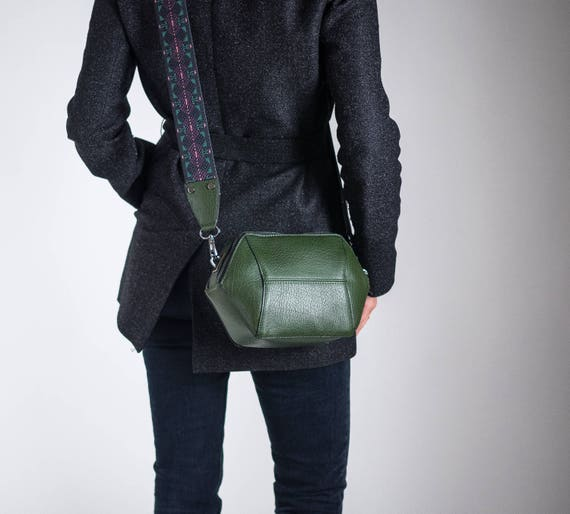 Geometric Crossbody Bag, Vegan Leather Bag, Green Shoulder Bag, Minimalist Bag, Structured Bag, Small Crossbody Bag, Unique Gifts for her