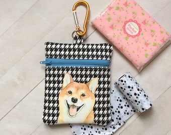 Dog Walking Bag, Shiba Inu Pouch, Dog Treat Bag, Shiba Inu Gift, Dog Lover Gift, Dog Birthday Gift, Gift For Her, Cotton Fabric