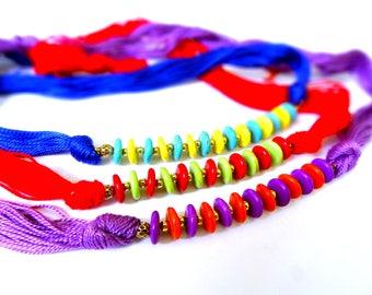 Heishi Bead Necklace, Length adjustable Thread Jewelry, Unique Fashion Jewelry, Fashion Jewelry Statement Necklace, Turquoise Heishi Jewelry