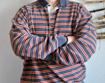 Striped polo 1990s 1980s vintage mens long sleeve polo sweatshirt