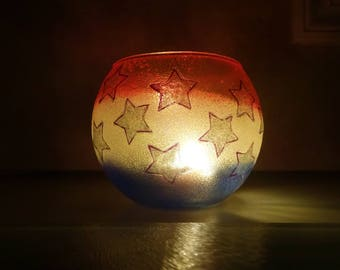 Red, White and Blue Starry Tea Lite Candle Holder