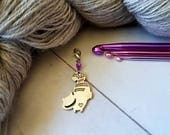 Cat Antique Silver Tone Progress Keeper / Stitch Marker for Crochet and Knit Purse Charm Zipper Pull Alice in Wonderland
