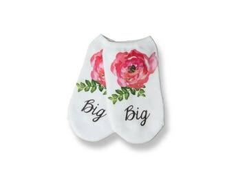 Big Sis, Big Sister, Floral No-show Big Socks