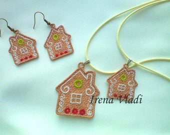 FSL jewelry gingerbread house earrings/pendant/christmas tree decoration Free Standing Lace Set Machine Embroidery design 4x4hoop - 1 size
