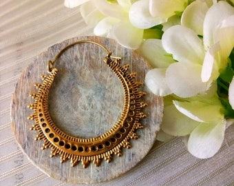 Hoop Earrings, unique design, Tribal Brass Earrings, Brass Earrings, Boho Earrings. Gypsy Earrings. Ethnic Earrings.