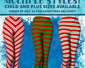 Christmas Leggings Choose a Custom Style for Elf Leggings, Candy Cane Leggings, Santa Leggings