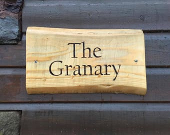 Wooden sign (2 words) | Rustic custom made wooden sign using wood burning (pyrography) technique to engrave letters/images
