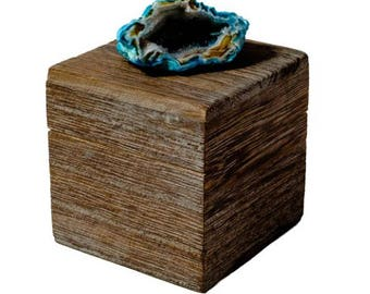 Small Driftwood Box with Teal Geode
