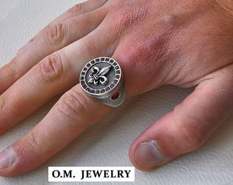 Fleur de lis solid 925 sterling silver ring men heavy round red ruby stone lily