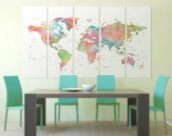 Large 5 Panel Watercolor World Map Canvas \ Detailed World Map Canvas Art \ Watercolor World Map Wall Art \  Detailed World Map Print