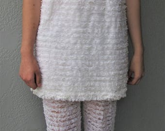 Vintage Late 60's Lace Mini Dress with Bell Bottoms
