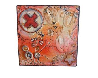 """Petite toile, peinture et technique mixte, collage multicolore, """"Feu à la croix rouge sang!"""""""