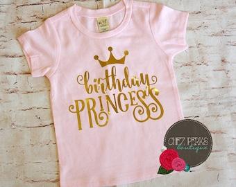 birthday princess , birthday princess shirt , birthday girl shirt , pink and gold birthday , pink and gold first birthday
