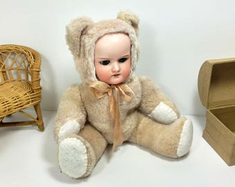 Antique Doll Bear/ Antique Bisque Doll/ Doll in Bear Costume/ Armand Marseille/ Vintage Teddy Bear