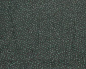 Green Leaves on Green Cotton Fabric