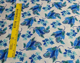Something Blue-Flowers on White Cotton Fabric by Color Principle for Henry Glass