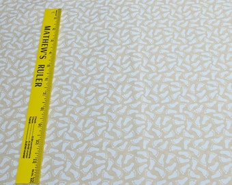 Footprints on Beige Cotton Fabric