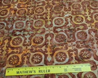 Brown and Yellow Cross Batik Cotton Fabric