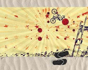 Beach Towel, Men beach towel, bike art, mountain bike art, Cycling Art, Beach Lover, Men gift, Cycling Gift, BMX bike, bicycle art, Cam Zink