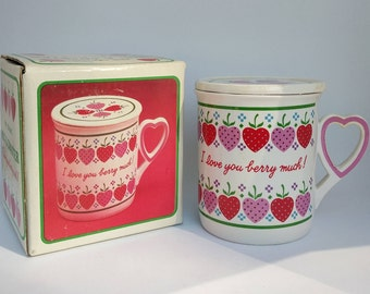 1980s I Love You Berry Much Vintage Mug and Coaster. Heart and Berry Theme, very cute!