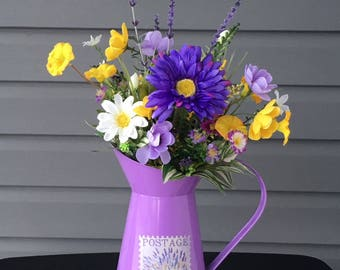 Spring Flower Arrangement, Spring Floral Arrangement, Watering Can with Purple Yellow Flowers, Spring Decor, Daisy Flower Arrangement