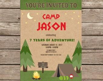 Camping Birthday Invitation Set-Digital
