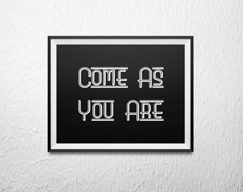 NIRVANA - Come As You Are - song lyric.  8x10 + 5x7 Instant Download