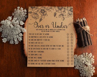 Over or Under . Over or Under Bridal Shower Games . Over or Under the Number . Printable Instant Download . Rustic, Fun, Bridal Shower Game.