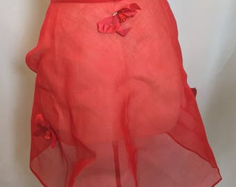 Red Half Apron Red Sheer Apron Holiday Apron Organza Apron Christmas Bells