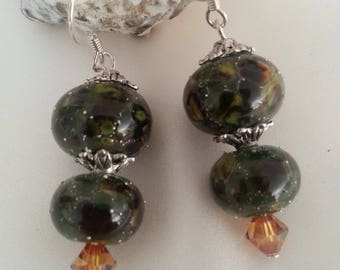 "Handcrafted beads ""lampwork"" and Swarovski - earrings-"