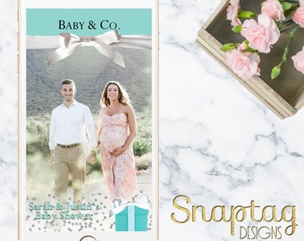 Custom Snapchat Geofilter || baby & co, baby shower, tiffany blue theme, baby, mom to be, boy, girl, gender reveal, it's a boy, it's a girl