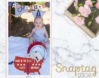 Custom Snapchat Geofilter || birthday filter, kid birthday, america, american theme, birthday, baby boy, fourth of july, red white blue
