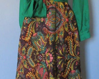 70s Maxi Dress with Quilted Skirt