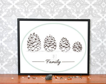 A family of pine cones, Family print, Family Pine cone art printable, Wall art, Art with pine cones, Download