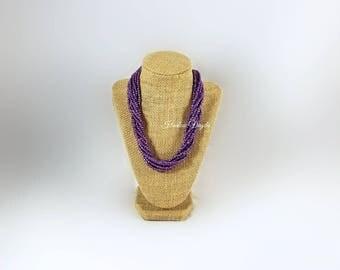 Purple necklace, violet purple, purple bead necklace, violet purple necklace, purple jewelry, violet purple bead necklace, purple and silver