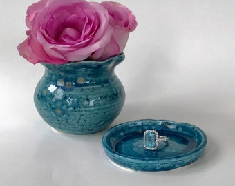 Small Monsoon Blue Handmade Ceramic Flower Bud Vase