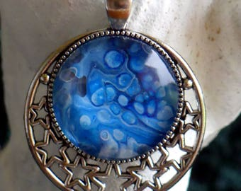 "Shades of Blue, Poured Acrylic, Abstract Art, Wearable Art, Round Moon and Stars Pendant,Glass Cabochon, 18"" Cord"