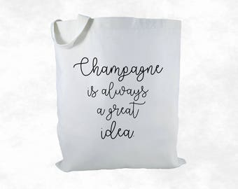 Champagne Canvas Tote Bag, Party Bag, Party Favor Bag, Gift Bag, Housewarming Gift, Women's Gift, Bridesmaid Gift