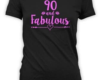 Funny Birthday Shirt 90th Birthday T Shirt Bday Gift Ideas For Women Grandma TShirt Custom Age B Day 90 And Fabulous Ladies Tee - BG542
