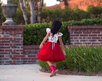 Girls Toddler Red Birthday Tutu Dress, Valentines Day Rose Dress, Red Tulle Twirl Dress, Girls Floral Spring Dress, Photography Dress,