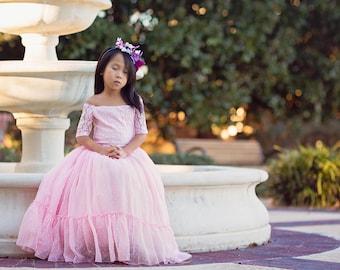 Rustic Flower Girl Pink Dress, Off Shoulder Lace Maxi Dress, Boho Junior Bridesmaid Dress, Sleeping Beauty Dress Costume, Photography Dress