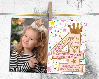 4th Birthday Invitation Princess Birthday Invitation Purple Pink and Gold Glitter Invitations for girls Crown Stars Glam Birthday Invitation